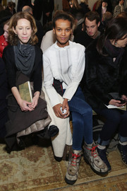 Liya Kebede paired a Tory Burch smocked silk top with blue jeans for the brand's fashion show.