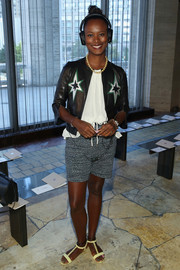 Shala Monroque attended the Tory Burch fashion show wearing a cute star-adorned leather jacket.