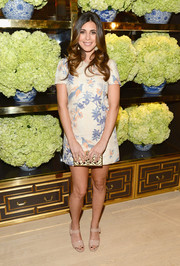 Jamie-Lynn Sigler looked retro-darling in a pastel-print mini dress during the Tory Burch Rodeo Drive opening.