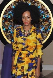 Solange paired her printed frock with a tassel necklace at NYFW.