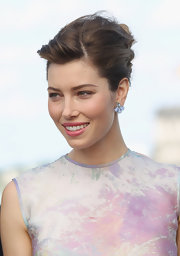 Jessica Biel's periwinkle studs were the perfect pastel touch to her watercolor-hued dress.