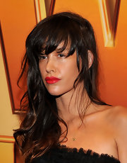 Paz de la Huerta sported a messy-glam long wavy 'do with bangs at the 'Tower Heist' premiere.