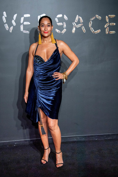Tracee Ellis Ross Strappy Sandals [fashion model,clothing,dress,cocktail dress,fashion,hairstyle,shoulder,little black dress,leg,model,arrivals,tracee ellis ross,versace fall,american stock exchange building,new york city,lower manhattan,versace,fashion show]