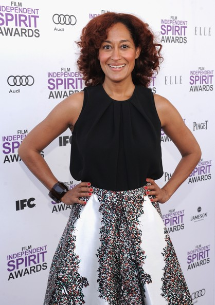 Tracee Ellis Ross Red Nail Polish [clothing,dress,fashion,hairstyle,shoulder,premiere,waist,cocktail dress,long hair,fashion design,tracee ellis ross,guests,film independent,film-makers,red carpet,santa monica pier,california,jameson irish whiskey,premier sponsor,film independent spirit awards]