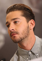 Shia LaBeouf wore his hair in a neat slicked-back style for the 'Transformers 3' press conference.