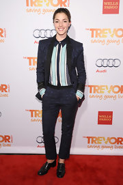 Olivia Thirlby wore a midnight blue jacquard suit at the TrevorLIVE event in NYC.