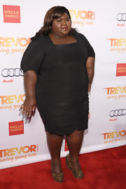 Gabourey Sidibe wore a fitted LBD with elbow-length sleeves at the TrevorLIVE event in NYC.