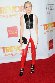Candice Accola looked smart and edgy during TrevorLIVE in a black-and-white zipper-front top by Alexander Wang.