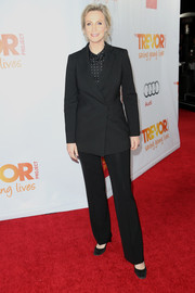 Jane Lynch opted for a simple black pantsuit when she attended TrevorLIVE.