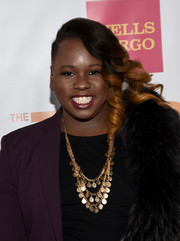 Alex Newell rocked half-shaved ombre side-swept curls at the TrevorLIVE LA event.