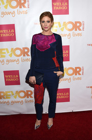 Brittany Snow was casual-chic on the TrevorLIVE LA red carpet in a colorful rose-print top.