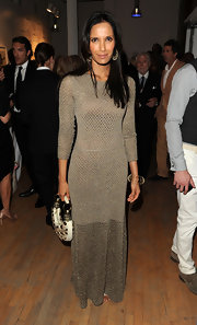 Padma Lakshmi wore this metallic net gown to the Tribeca Ball.