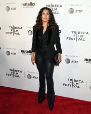 Salma Hayek looked like a rock star in her all-black tux jacket, blouse, and leather pants combo at the Tribeca Film Fest premiere of '11th Hour.'