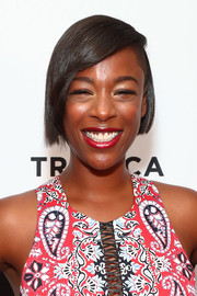 Samira Wiley wore her hair short and straight with a deep side part at the Tribeca TV Festival premiere of 'Ryan Hansen Solves Crimes on Television.'