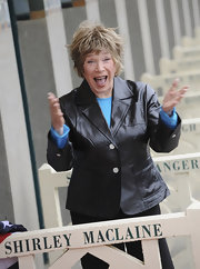 Shirley MacLaine exuded a youthful vibe in a black leather jacket.