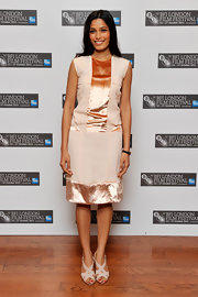 Freida Pinto took to the BFI London Film Festival in a blush colored dress topped off with nude 'Lasti' sandals.
