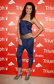 Alena Seredova rocked a casual and fun outfit wearing a strapless jumpsuit during the launch of Triumph's ad campaign.