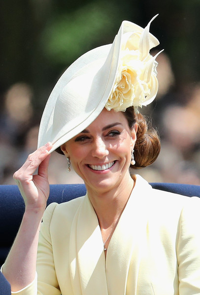 Kate Middleton looked lovely wearing this floral hat by Philip Treacy at the Trooping the Colour 2019.
