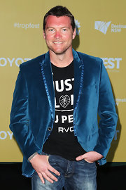 A blue velvet blazer topped off Sam Worthington's look at Tropfest 2013.