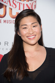 Jenna Ushkowitz kept it youthful with this side-parted half-up style at the Broadway opening of 'Tuck Everlasting.'