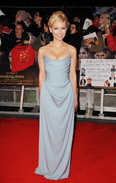 Myanna looked lovely in this sky blue bustier gown at the 'Breaking Dawn - Part 2' London premiere.