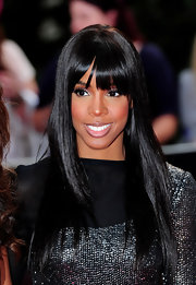 Kelly Rowland showed off her straight locks and blunt cut bangs.
