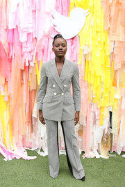 Lupita Nyong'o looked sharp in a patterned pantsuit by Dorothee Schumacher at Twitter's #SheInspiresMe brunch.
