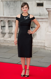 Marion Cotillard paired her LBD with simple yet classic black ankle-strap sandals, also by Dior.