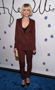 Chelsea Kane opted for a patterned pantsuit when she attended the Tyler Ellis 5th anniversary celebration.