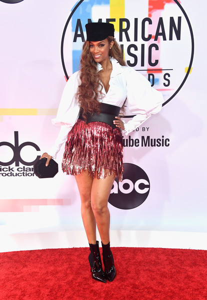 Tyra Banks Ankle Boots [flooring,carpet,fashion model,red carpet,shoulder,fashion,costume,joint,shoe,fashion design,arrivals,tyra banks,american music awards,microsoft theater,los angeles,california]