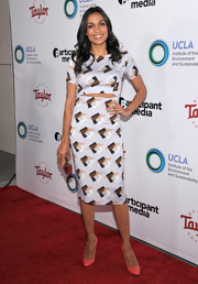 Rosario Dawson looked trendy in a printed cutout dress by Suno at the UCLA Institute of the Environment and Sustainability Gala.