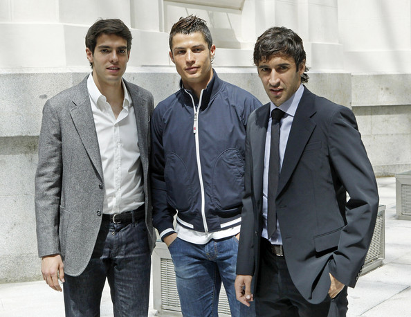 Cristiano Ronaldo opted to style his dark hair in short spikes.