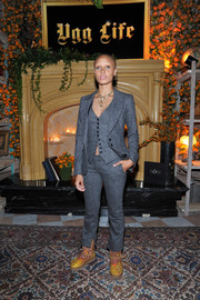 Adwoa Aboah was all business in a three-piece gray pantsuit at the UGG x Jeremy Scott launch.