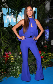 Nicole Scherzinger rocked a blue bell-bottom jumpsuit by SAFiYAA at the UK gala screening of 'Moana.'