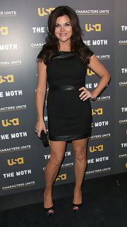 Tiffani Thiessen looked ravishing at the Moth's Storytelling Tour in black platform peep-toes and a leather-panel LBD.