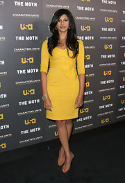 Reshma Shetty looked oh-so-sophisticated in her yellow cocktail dress and nude slingbacks.