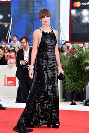 Micaela Ramazzotti shimmered in a fully sequined black gown by Prada at the Venice Film Festival premiere of 'Una Famiglia.'