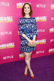 Ellie Kemper was easy-breezy in a floral shift dress by Tanya Taylor at the 'Unbreakable Kimmy Schmidt' season 2 world premiere.
