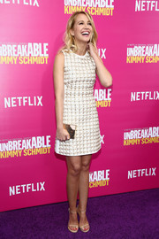 Anna Camp was retro-glam in a beaded mini dress at the 'Unbreakable Kimmy Schmidt' season 2 world premiere.