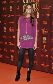 Amaia Salamanca was not in her usual all-black ensemble at the 'Union de Actores' 2010 as she wore a sheer hot pink tunic and some sexy black tights.