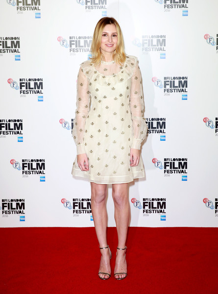 Laura Carmichael went sweet and conservative in a bee-embroidered ruffle dress by Orla Kiely at the BFI London Film Festival photocall for 'A United Kingdom.'