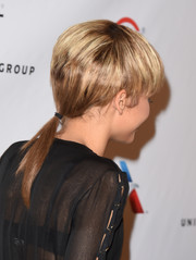 Zendaya Coleman attended the Universal Music Group Grammy after-party wearing her mullet pulled back into a low ponytail.
