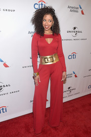 Mya brought a '70s vibe to the Universal Music Group Grammy after-party with this red wide-leg jumpsuit.