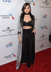 Hailee Steinfeld showed her more daring side when she wore this black bra to the Universal Music Group Grammy after-party.