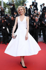 Eva Herzigova was the spitting image of Marilyn Monroe in this white Christian Dior Couture fit-and-flare dress during the Cannes premiere of 'The Unknown Girl.'