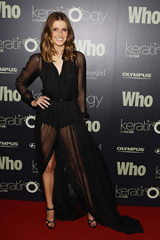Kate Waterhouse wore a sheer print polka-dot dress for the Sexiest People List unveiling.