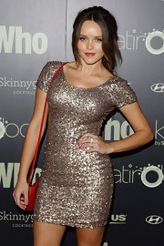 Rebecca Breeds dazzled in a sequined gold mini dress at the WHO 'Sexiest People' party.
