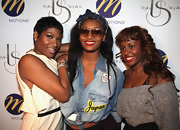 Toccara Jones tied a button-down denim top up and turn it into a crop-top at Ursula Stephen's birthday.
