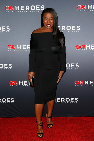 Uzo Aduba Off-the-Shoulder Dress [cnn heroes: an all-star tribute,clothing,red carpet,carpet,dress,little black dress,premiere,fashion,cocktail dress,shoulder,footwear,uzo aduba,new york city,american museum of natural history]