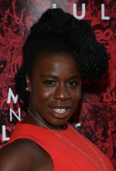 Uzo Aduba Afro Puff [romeo and juliet,hair,hairstyle,red,eyebrow,forehead,black hair,jheri curl,smile,afro,s-curl,shakespeare,opening night - arrivals,uzo aduba,curtain call,broadway,new york city,richard rogers theater]
